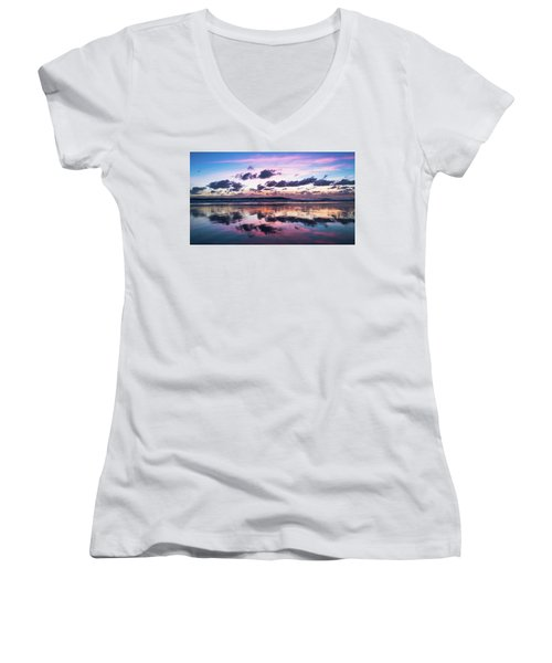 Sunrise Pink Wisps Delray Beach Florida Women's V-Neck (Athletic Fit)
