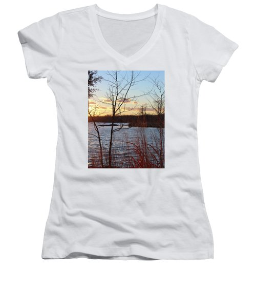 Sunset On The River Women's V-Neck