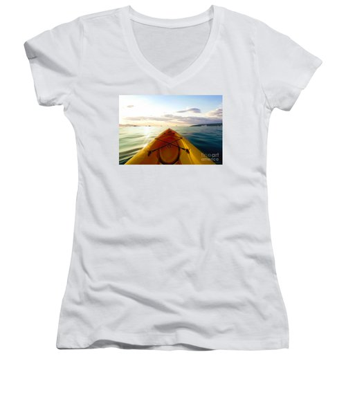 Sunrise Seascape Kayak Adventure Women's V-Neck