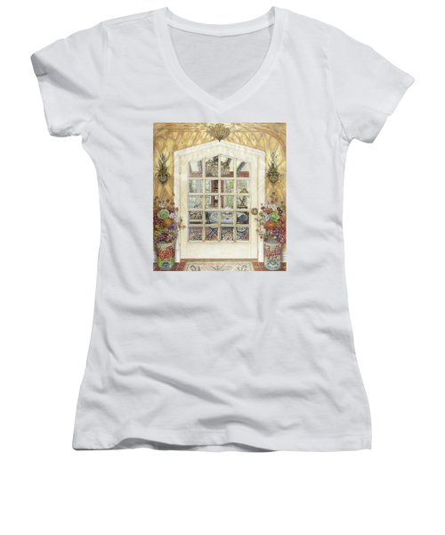 Sunroom Entrance Women's V-Neck T-Shirt (Junior Cut) by Bonnie Siracusa