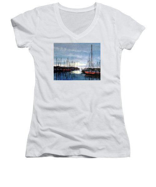 Sunset At Apollo Beach Women's V-Neck T-Shirt (Junior Cut) by Janet King