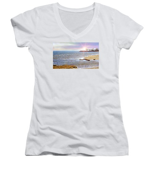 Sunset At The Beach - Tod's Point Women's V-Neck (Athletic Fit)