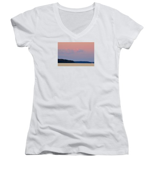 Women's V-Neck T-Shirt (Junior Cut) featuring the photograph Sunset Clouds In The East 2  by Lyle Crump