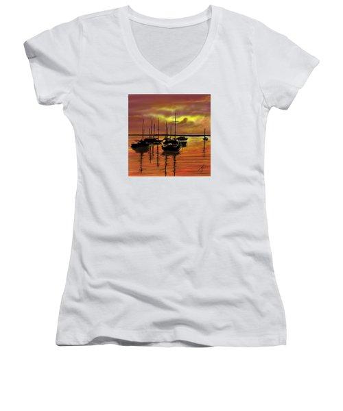 Women's V-Neck T-Shirt (Junior Cut) featuring the digital art Sunset by Darren Cannell