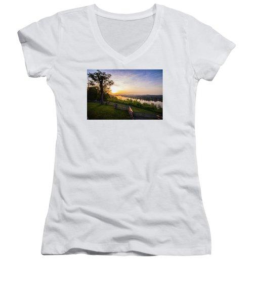 Sunset From Boreman Park Women's V-Neck T-Shirt (Junior Cut) by Jonny D