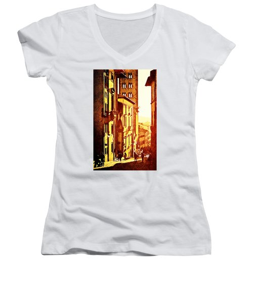 Women's V-Neck T-Shirt (Junior Cut) featuring the digital art Sunset In Arezzo by Andrea Barbieri