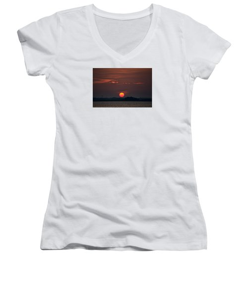 Sunset In Biloxi 2 Women's V-Neck T-Shirt (Junior Cut) by Cathy Jourdan