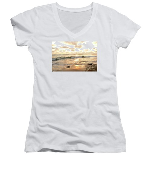 Sunset In Golden Tones Torrey Pines Natural Preserves #2 Women's V-Neck T-Shirt (Junior Cut) by Heather Kirk