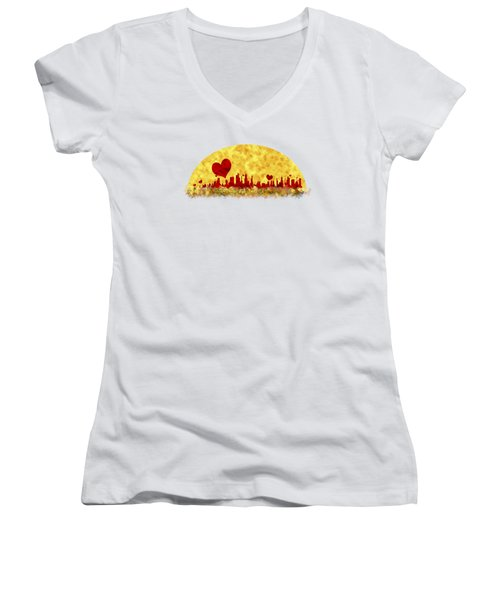 Sunset In The City Of Love Women's V-Neck (Athletic Fit)