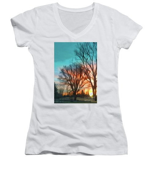 Sunset In The Country Women's V-Neck