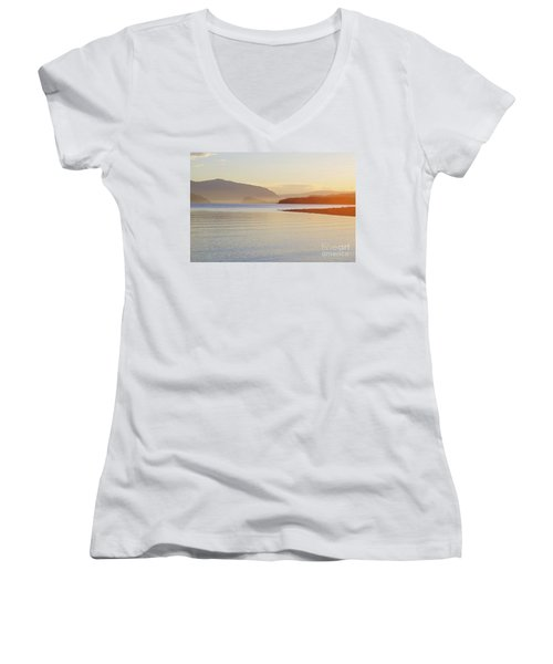 Sunset In The Mist Women's V-Neck T-Shirt (Junior Cut) by Victor K