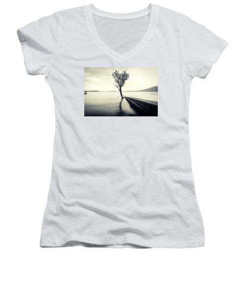Sunset Landscape With A Tree In The Background Immersed In The L Women's V-Neck (Athletic Fit)