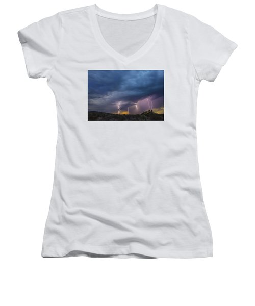 Women's V-Neck T-Shirt (Junior Cut) featuring the tapestry - textile Sunset Lightning by Kathy Adams Clark