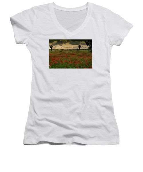 Sunset On A Poppies Field Women's V-Neck