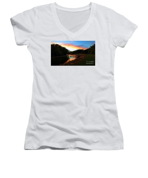 Sunset On Saco River Women's V-Neck (Athletic Fit)
