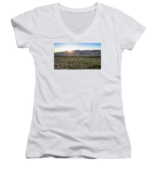 Sunset On The Dunes Women's V-Neck T-Shirt