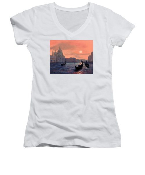 Sunset On The Grand Canal In Venice Women's V-Neck T-Shirt (Junior Cut) by Janet King