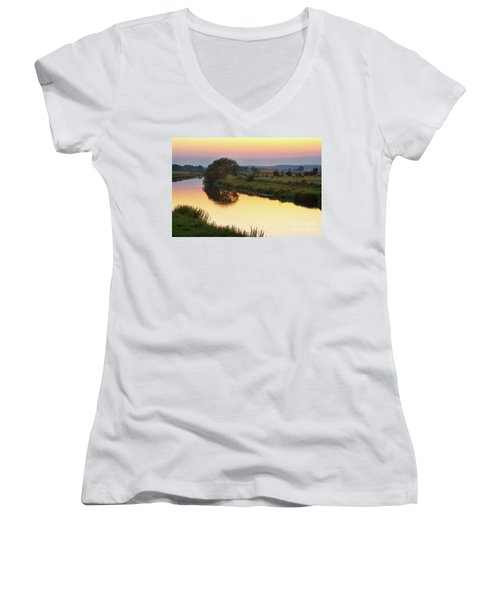 Sunset On The River Women's V-Neck T-Shirt