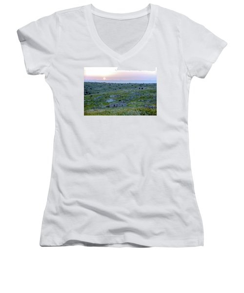 Sunset Over A 2000 Years Old Village Women's V-Neck T-Shirt (Junior Cut) by Dubi Roman