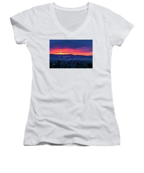 Sunset Over Marquam Hill Women's V-Neck (Athletic Fit)