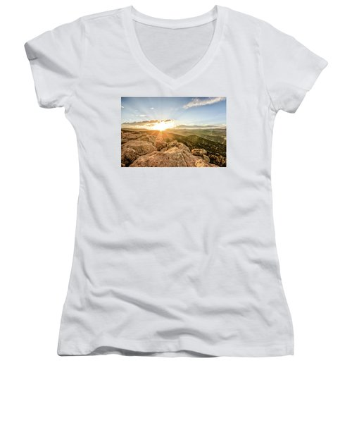 Women's V-Neck T-Shirt (Junior Cut) featuring the photograph Sunset Over The Mountains Of Flaggstaff Road In Boulder, Colorad by Peter Ciro