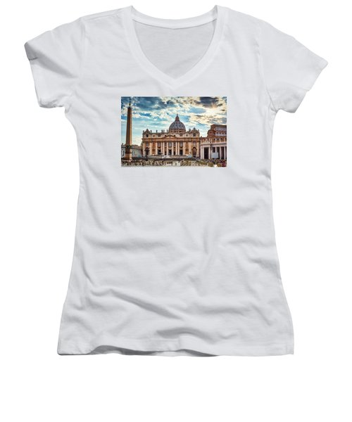 Sunset Over The Papal Basilica Of Saint Peter Women's V-Neck