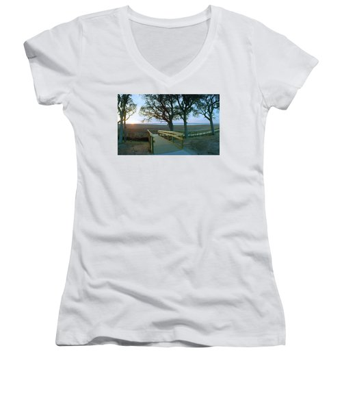 Sunset Over The Sound Women's V-Neck T-Shirt (Junior Cut)
