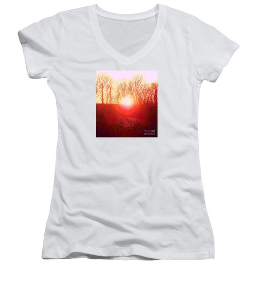 Women's V-Neck T-Shirt (Junior Cut) featuring the photograph Sunset Red Yellow by Shirley Moravec