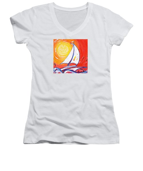 Sunset Sail Women's V-Neck T-Shirt