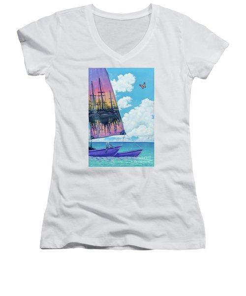 Sunset Sail Women's V-Neck