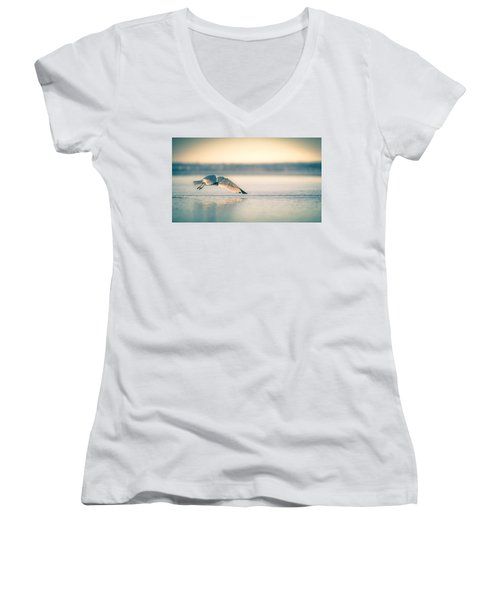 Sunset Seagull Takeoffs Women's V-Neck