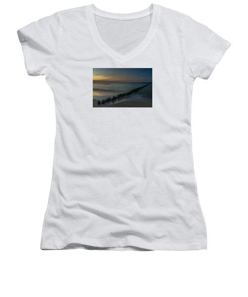 Women's V-Neck T-Shirt (Junior Cut) featuring the photograph Sunset Zen Mood Seascape by Julis Simo