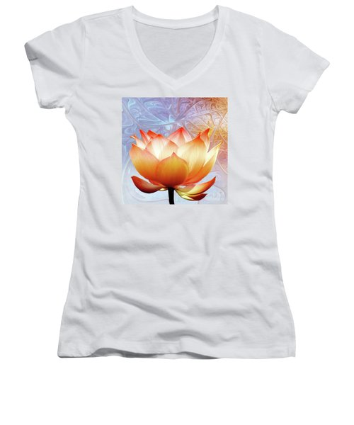Sunshine Lotus Women's V-Neck T-Shirt (Junior Cut) by Jacky Gerritsen