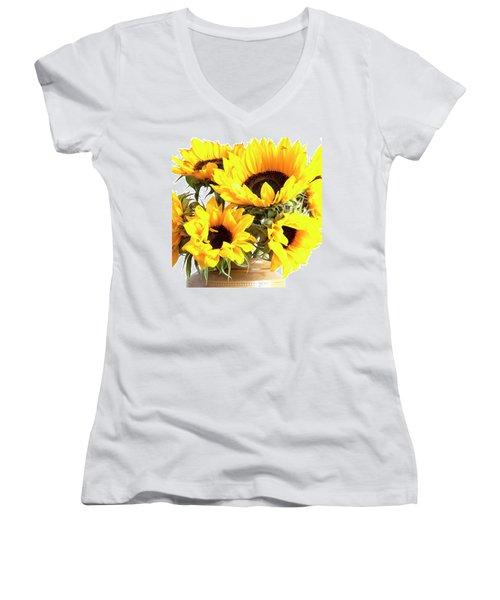 Sunshine Sunflowers Women's V-Neck (Athletic Fit)