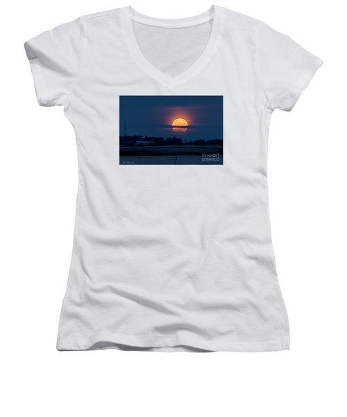 Super Moon Women's V-Neck T-Shirt (Junior Cut) by Arik Baltinester