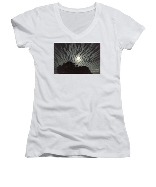 Women's V-Neck T-Shirt (Junior Cut) featuring the photograph Super Moon by Irma BACKELANT GALLERIES