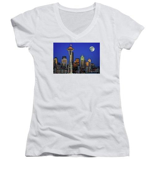 Super Moon Over Seattle Women's V-Neck
