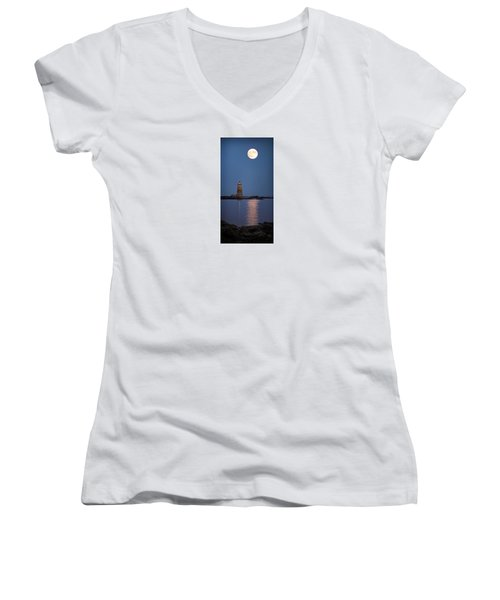 Super Moon Over Whaleback Lighthouse Women's V-Neck (Athletic Fit)