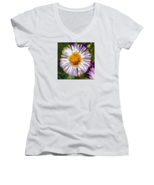 Women's V-Neck T-Shirt (Junior Cut) featuring the photograph Supernove Daisy by Spyder Webb