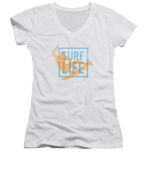 Surf Life 1 Women's V-Neck T-Shirt (Junior Cut) by SoCal Brand
