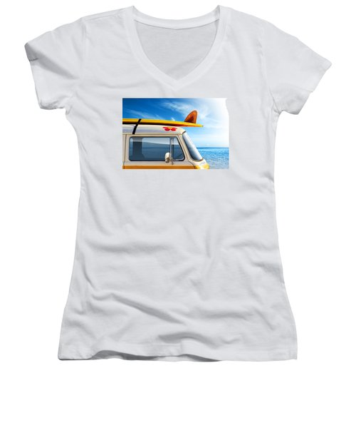Surf Van Women's V-Neck T-Shirt (Junior Cut) by Carlos Caetano