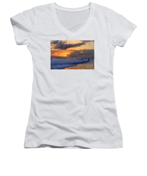 Surfer At Sunset On Kauai Beach With Niihau On Horizon Women's V-Neck T-Shirt (Junior Cut) by Catherine Sherman