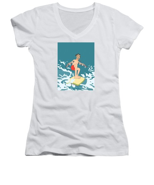 Surferbird Women's V-Neck T-Shirt (Junior Cut) by Megan Dirsa-DuBois