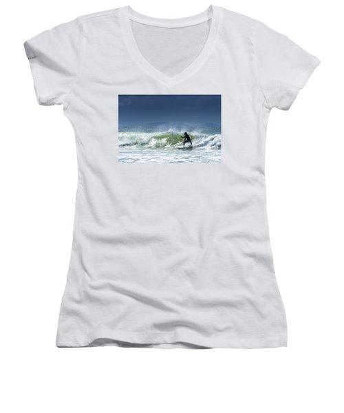 Surfing At Byron Bay Women's V-Neck T-Shirt