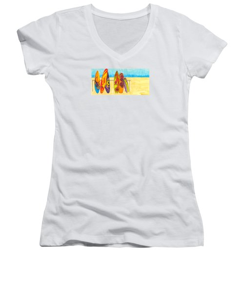 Surfing Buddies - Surf Boards At The Beach Illustration Women's V-Neck (Athletic Fit)