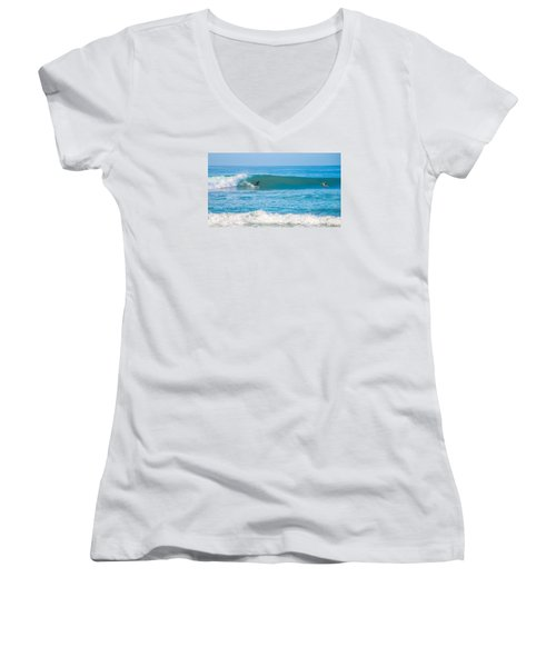 Surfing Women's V-Neck T-Shirt (Junior Cut) by Dorothy Cunningham