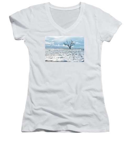 Women's V-Neck T-Shirt (Junior Cut) featuring the photograph Surfside Tree by Phyllis Peterson