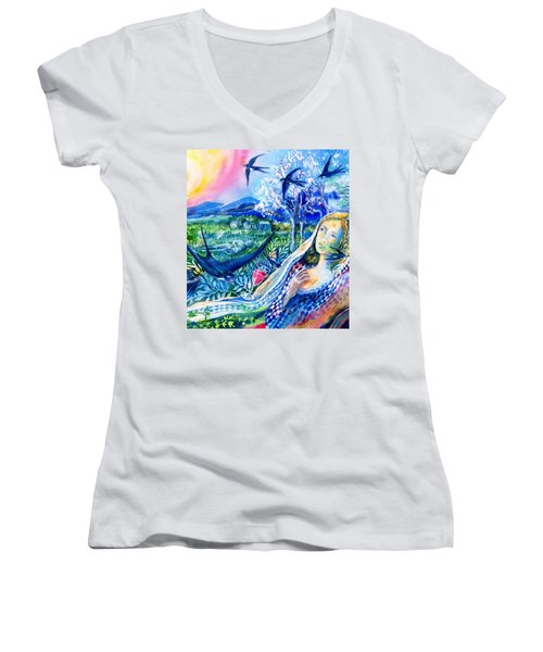 Surprised By A Swallow  Women's V-Neck T-Shirt (Junior Cut) by Trudi Doyle