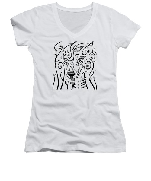 Surrealism Scream Black And White Women's V-Neck (Athletic Fit)