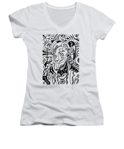 Surrealism Philosopher Black And White Women's V-Neck (Athletic Fit)